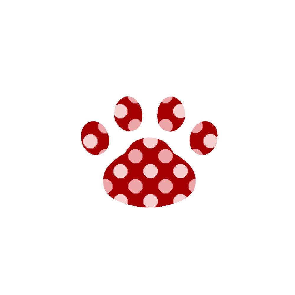 -dot-paw-pad-red-ドット肉球足跡レッド