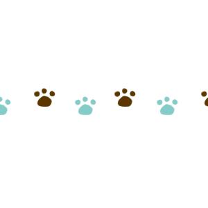 猫の足跡横並びラインブラウン×ブルー300