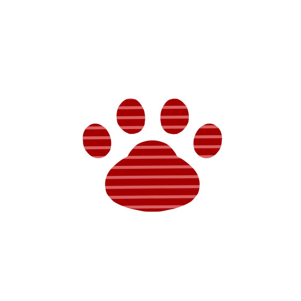 -border-paw-pad-red-ボーダー肉球足跡レッド