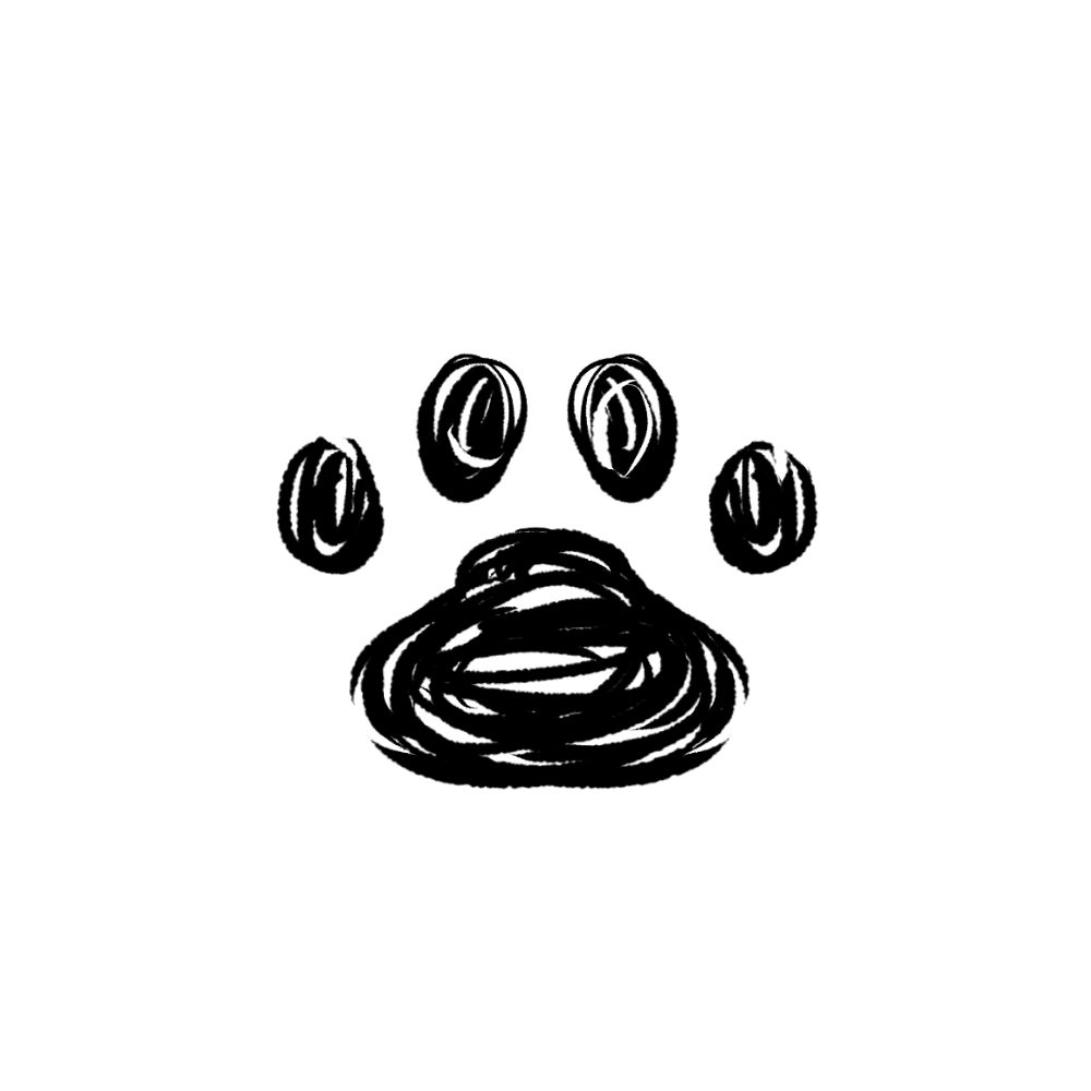 -rough-paw-pad-black-ラフな線の肉球足跡ブラック