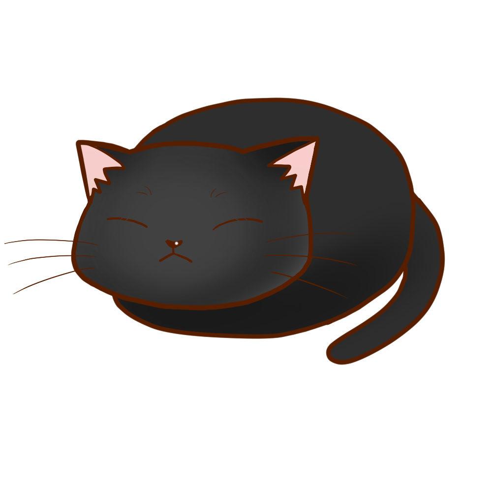 まんじゅう黒全身B-Manju cat black whole body B-