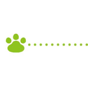 猫の肉球と点線のライングリーン300