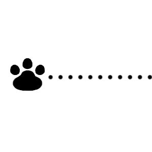 猫の肉球と点線のラインブラック300