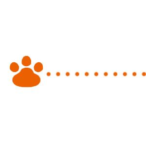 猫の肉球と点線のラインオレンジ