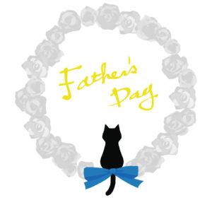 父の日バラと黒猫シルエットホワイト-fathers-day-blackcat-silhouette-rose-white
