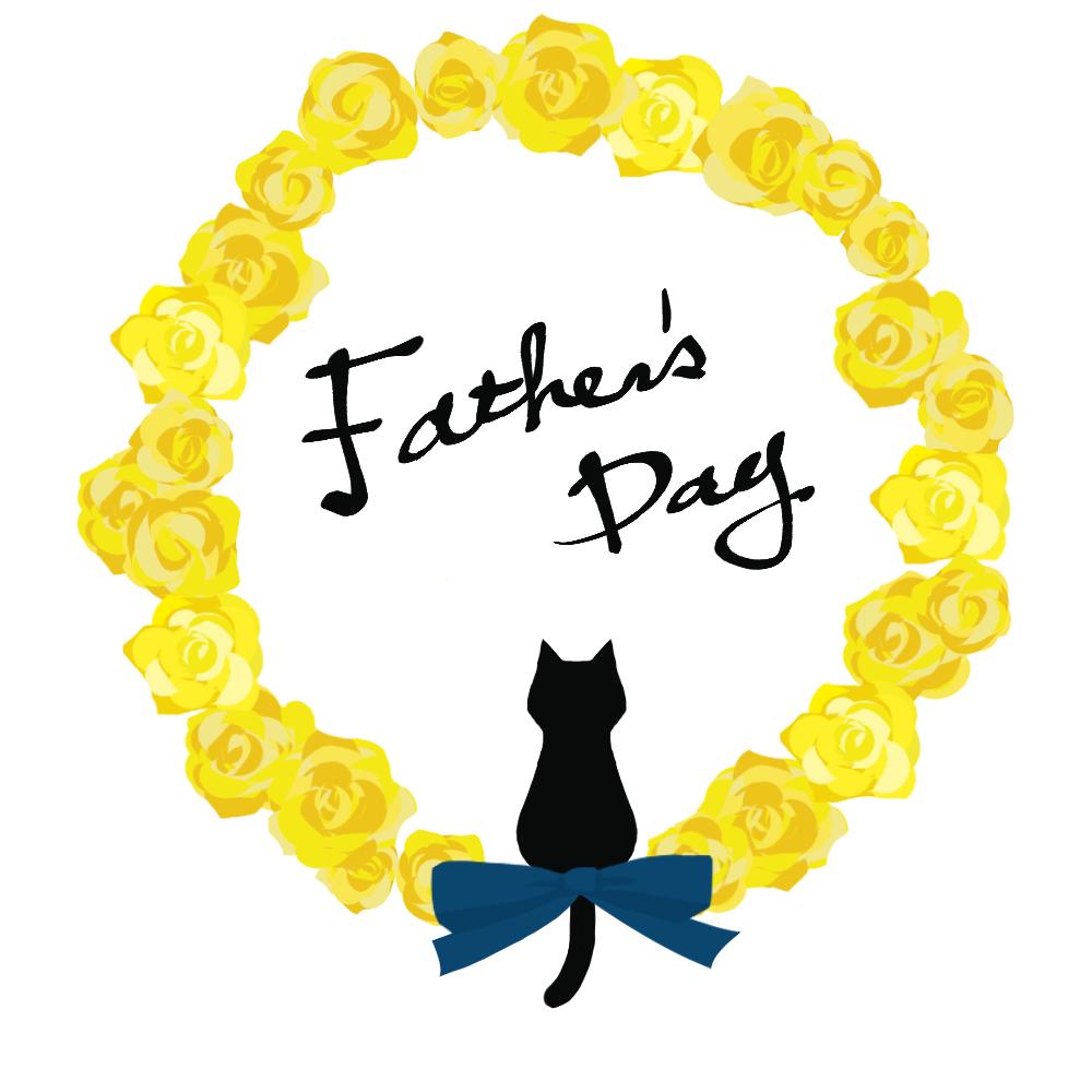 父の日バラと黒猫シルエットイエロー-fathers-day-blackcat-silhouette-rose-yellow