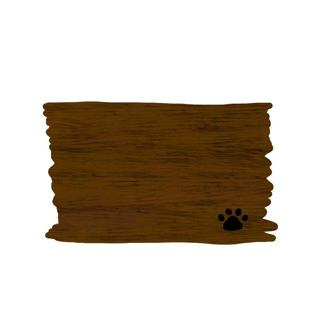 木のボードと猫の肉球足跡フレームブラウン-wood-board-pad-brown-color