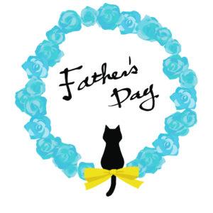 父の日バラと黒猫シルエットブルー-fathers-day-blackcat-silhouette-rose-blue