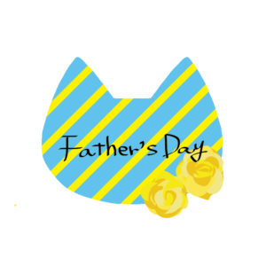 父の日ネコの顔とバラブルー×イエロー-fathers-day-cat-rose blue×yellow