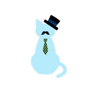 ネクタイとシルクハットのひげネコライトブルー-tie-silk-hat-beard-cat-lightblue