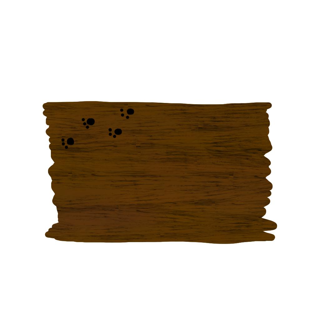 木のボードと猫の肉球足跡フレームブラウン