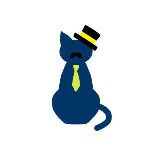 ネクタイとシルクハットのひげネコネイビー-tie-silk-hat-beard-cat-navy