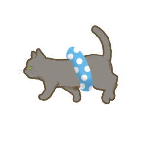 夏猫グレー浮き輪