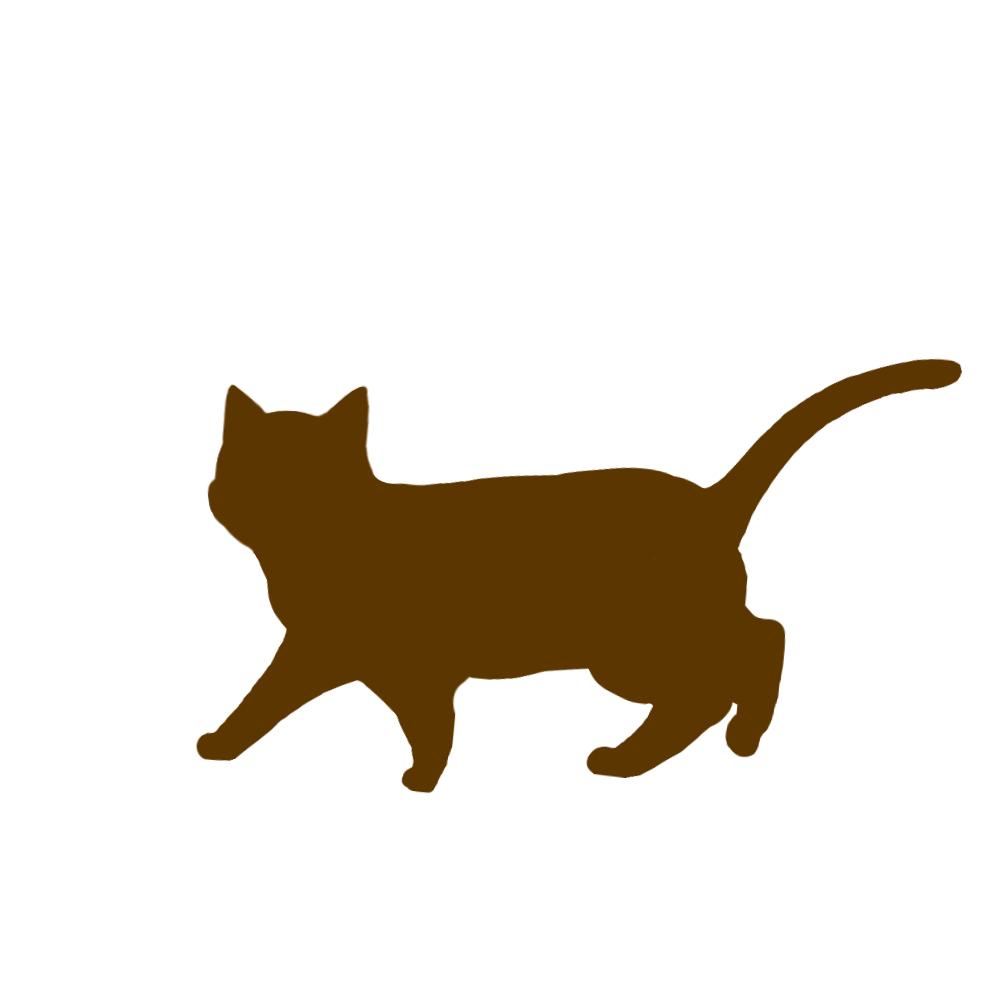 猫イラストシルエット歩く猫5ブラウン