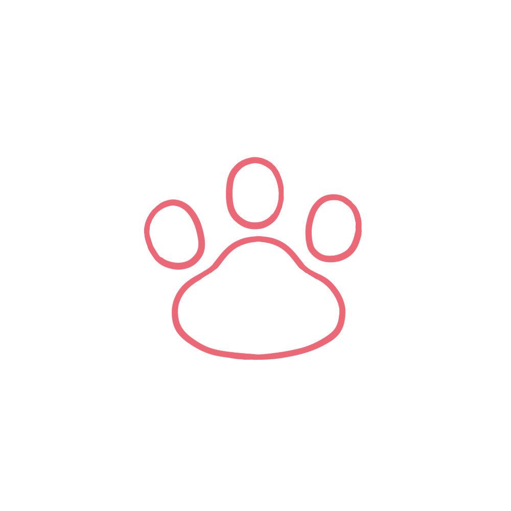 シンプルな肉球足あとの線画3指球タイプピンク