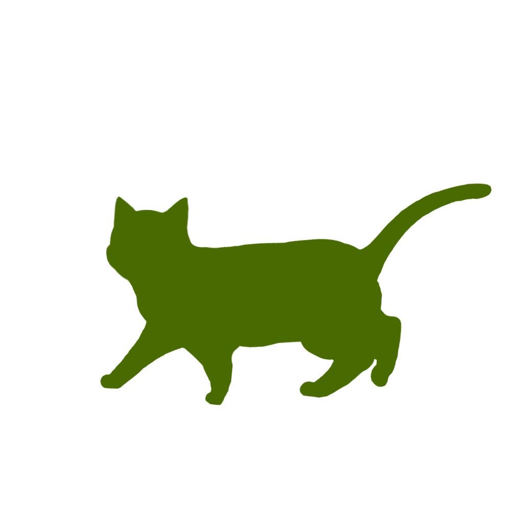 猫イラストシルエット歩く猫5グリーン