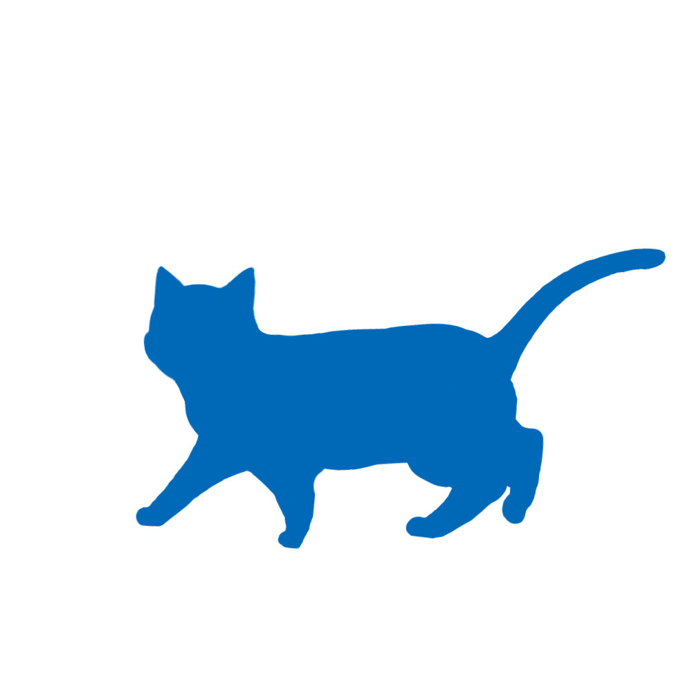 猫イラストシルエット歩く猫5ブルー