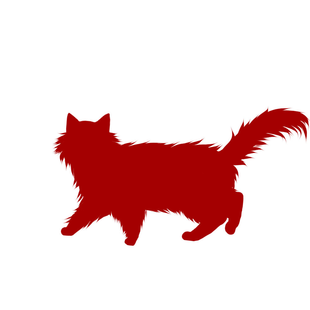 猫イラストシルエット歩く猫6レッド