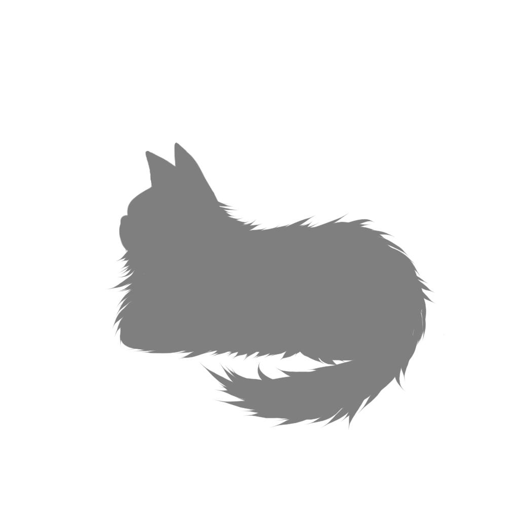 猫イラストシルエット箱座り猫2グレー