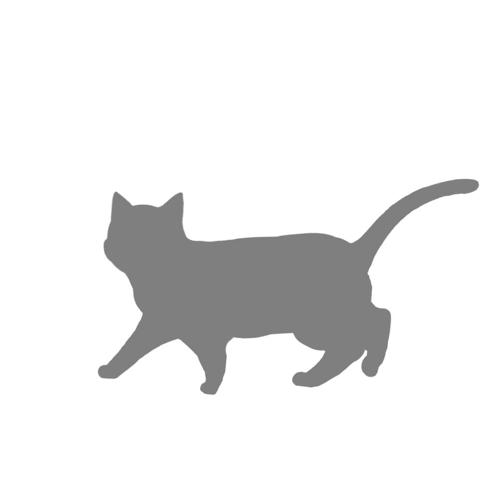 猫イラストシルエット歩く猫5グレー