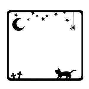 猫イラスト季節イベントハロウィンをイメージした猫のフレーム