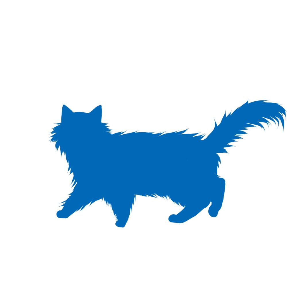 猫イラストシルエット歩く猫6ブルー
