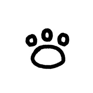 らくがき風肉球足あとの線画3指球タイプブラック