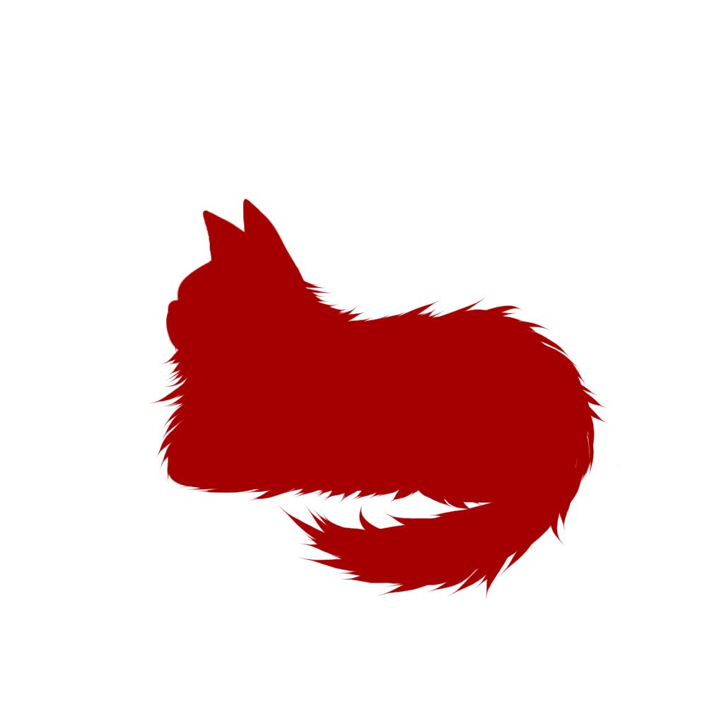 猫イラストシルエット箱座り猫2レッド