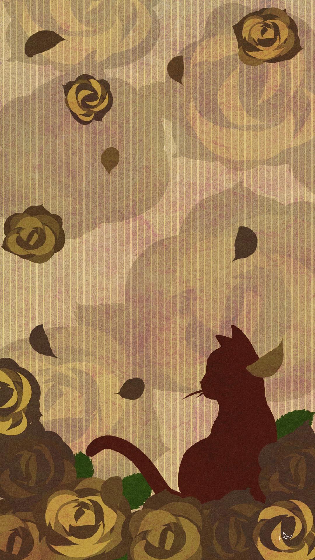 スマホ用壁紙たたずむ猫とバラの花セピア