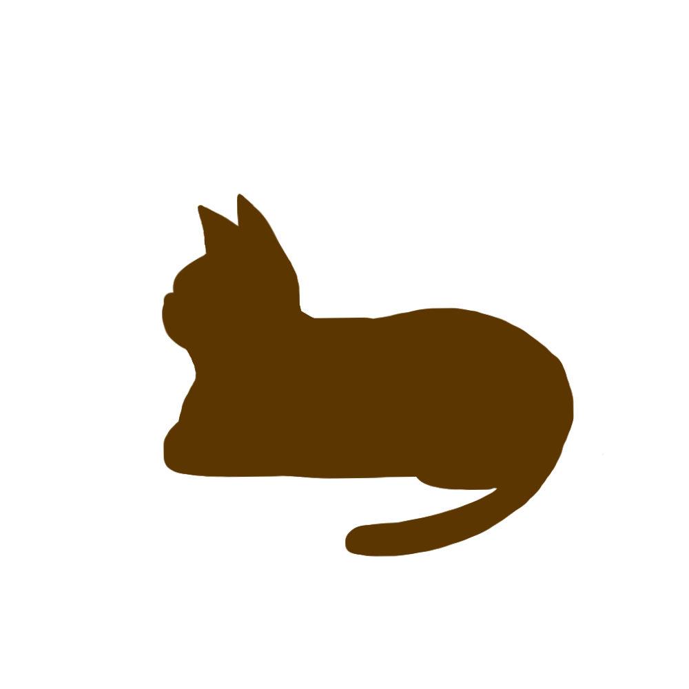 猫イラストシルエット箱座り猫1ブラウン