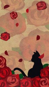 スマホ用壁紙たたずむ猫とバラの花レッド