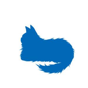 猫イラストシルエット箱座り猫2ブルー