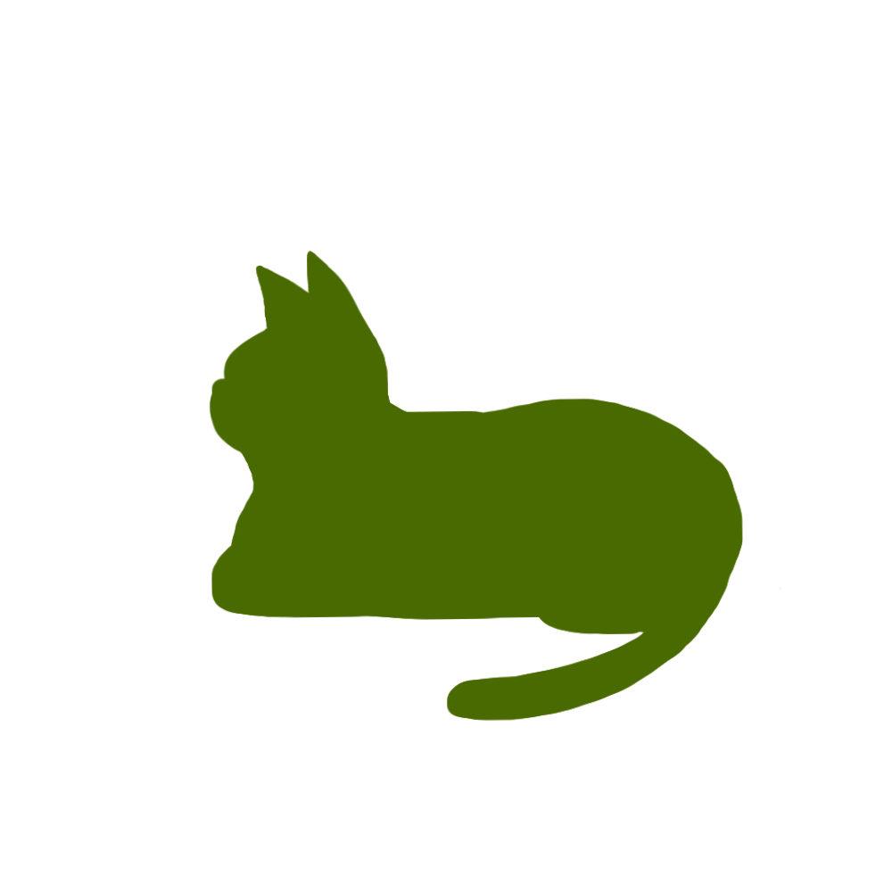 猫イラストシルエット箱座り猫1グリーン