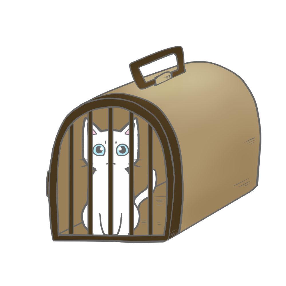 猫イラストシチュエーションペットキャリーに入った猫ブラウン