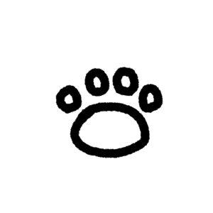 らくがき風肉球足あとの線画4指球タイプブラック
