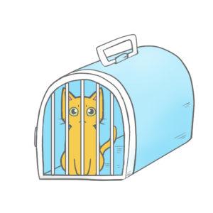 猫イラストシチュエーションペットキャリーに入った猫ブルー