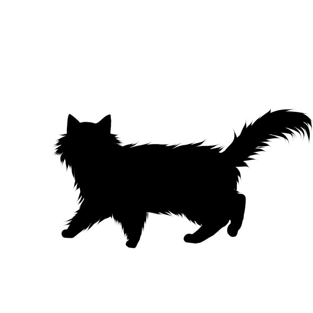 猫イラストシルエット歩く猫6ブラック