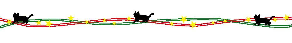 猫イラストライン星と黒猫のクリスマスカラーライン