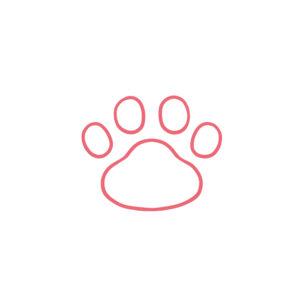 シンプルな肉球足あとの線画ピンク