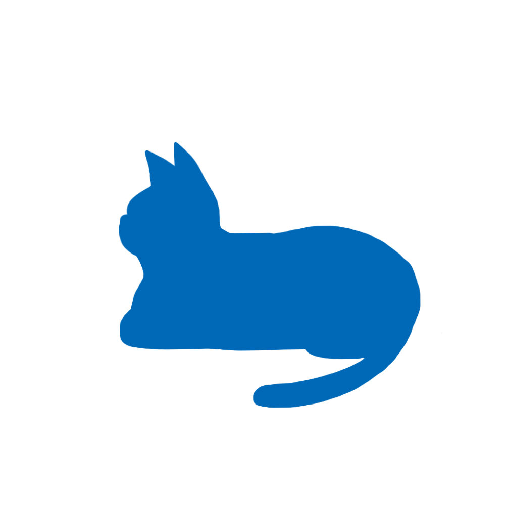 猫イラストシルエット箱座り猫1ブルー