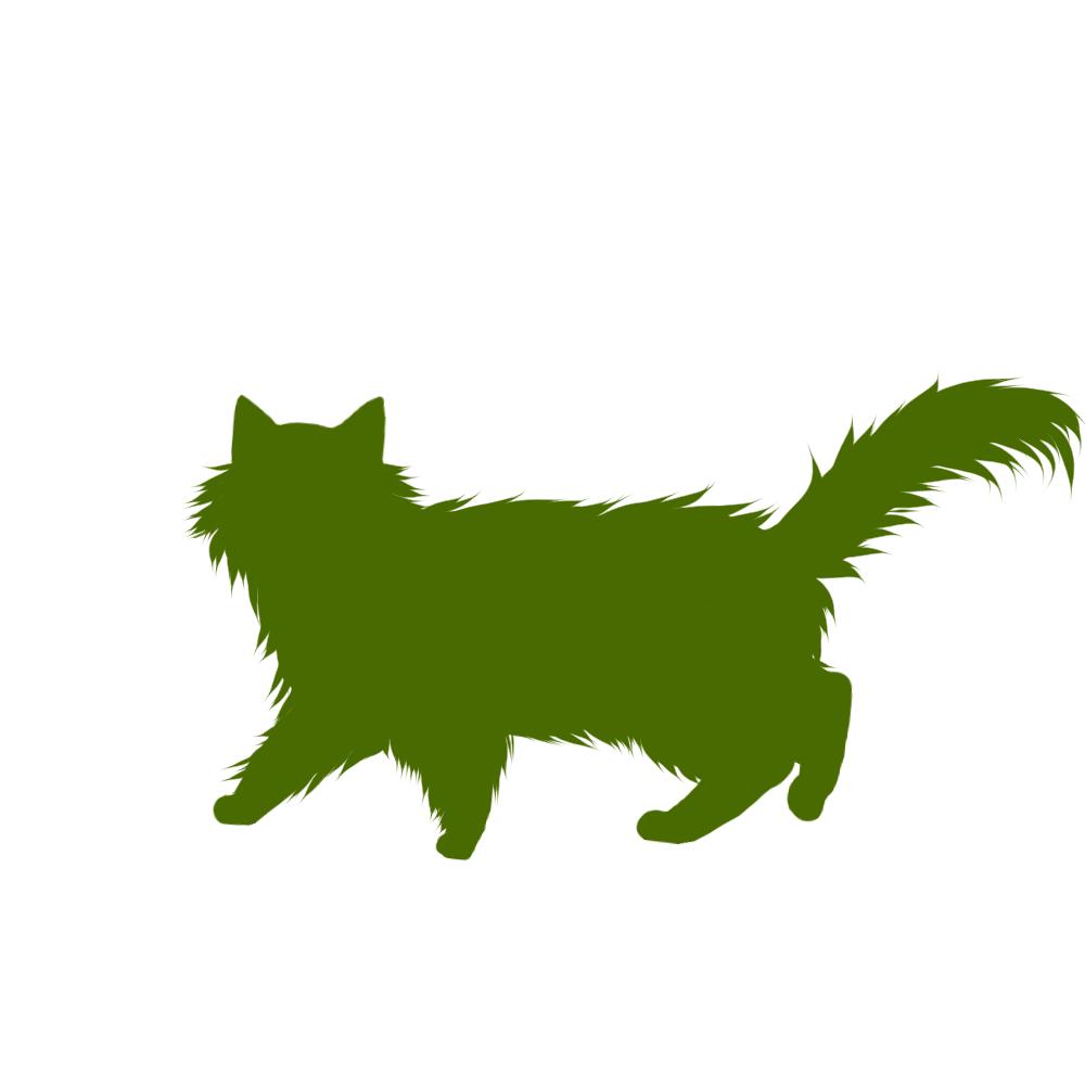 猫イラストシルエット歩く猫6グリーン