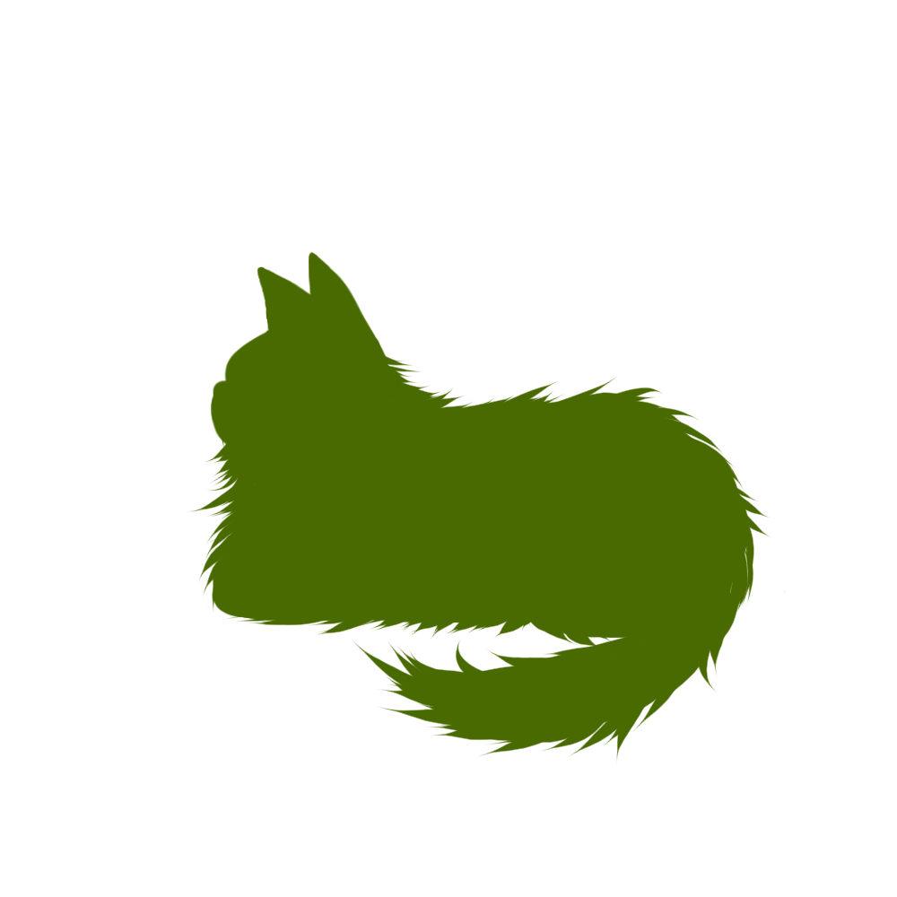 猫イラストシルエット箱座り猫2グリーン