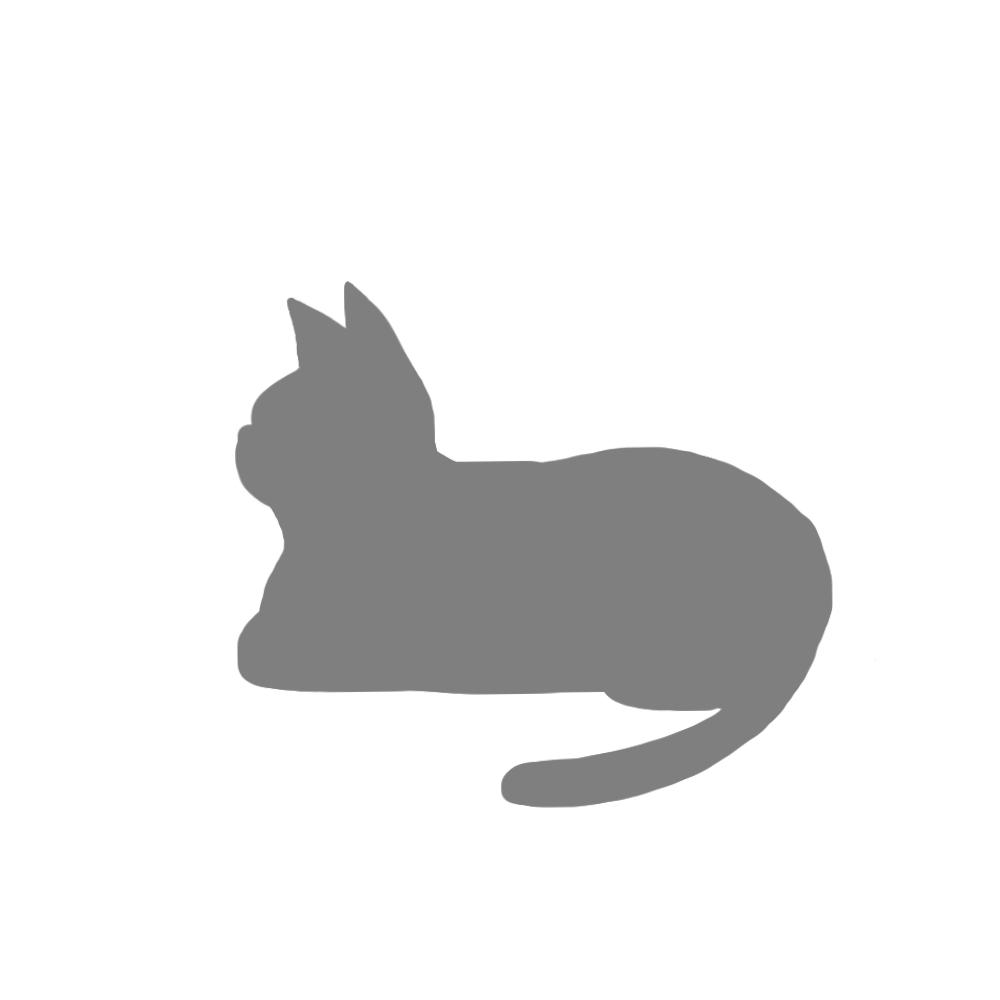 猫イラストシルエット箱座り猫1グレー