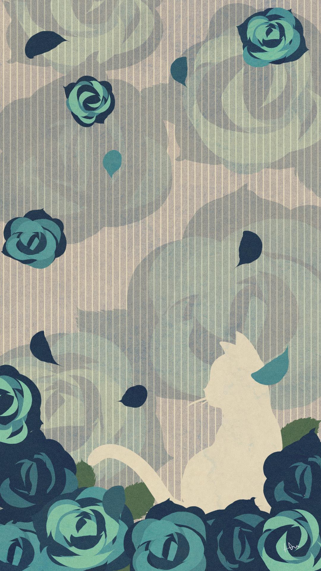 スマホ用壁紙たたずむ猫とバラの花ブルー
