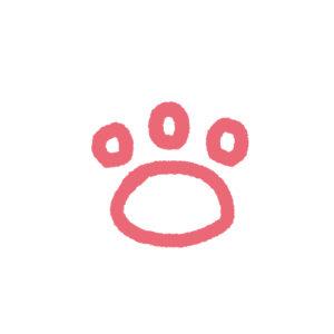 らくがき風肉球足あとの線画3指球タイプピンク