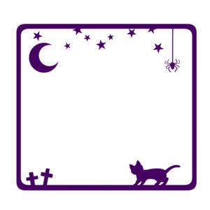 猫イラスト季節イベントハロウィンをイメージした猫のフレームパープル