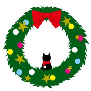 猫とクリスマスリース