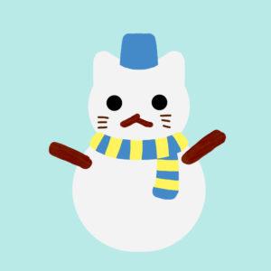 猫の雪だるまブルー