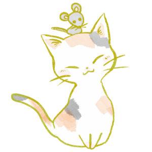 猫イラスト三毛猫とねずみ