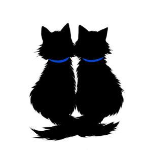 シルエット2匹の猫6長毛しっぽクロス首輪青